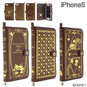(iPhone5専用)ディズニーキャラクター/Old Book Case for iPhone5(不思議の国のアリス)